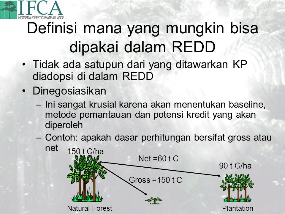 Definisi mana yang mungkin bisa dipakai dalam REDD Tidak ada satupun dari yang ditawarkan KP diadopsi di dalam REDD Dinegosiasikan –Ini sangat krusial karena akan menentukan baseline, metode pemantauan dan potensi kredit yang akan diperoleh –Contoh: apakah dasar perhitungan bersifat gross atau net 150 t C/ha 90 t C/ha Gross =150 t C Net =60 t C Natural ForestPlantation