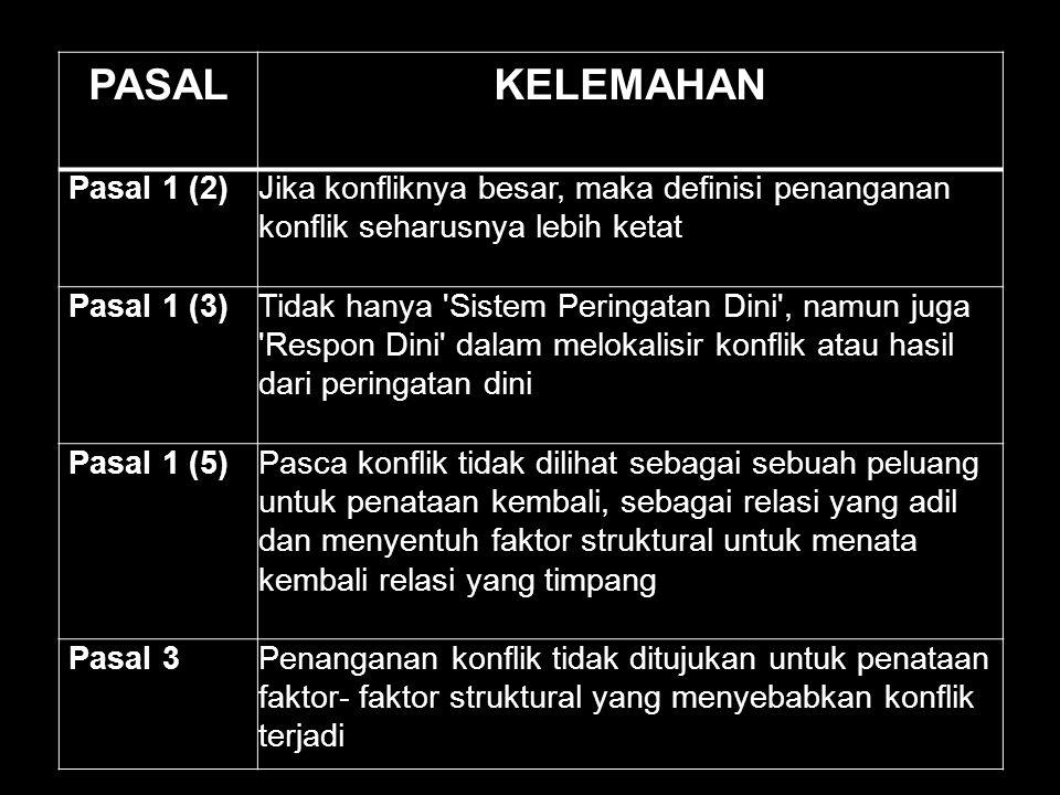 PASALKELEMAHAN Pasal 1 (2)Jika konfliknya besar, maka definisi penanganan konflik seharusnya lebih ketat Pasal 1 (3)Tidak hanya 'Sistem Peringatan Din