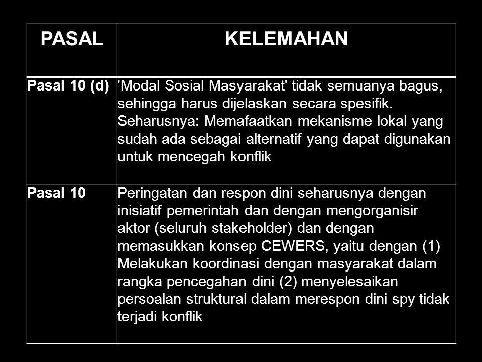 PASALKELEMAHAN Pasal 10 (d)'Modal Sosial Masyarakat' tidak semuanya bagus, sehingga harus dijelaskan secara spesifik. Seharusnya: Memafaatkan mekanism