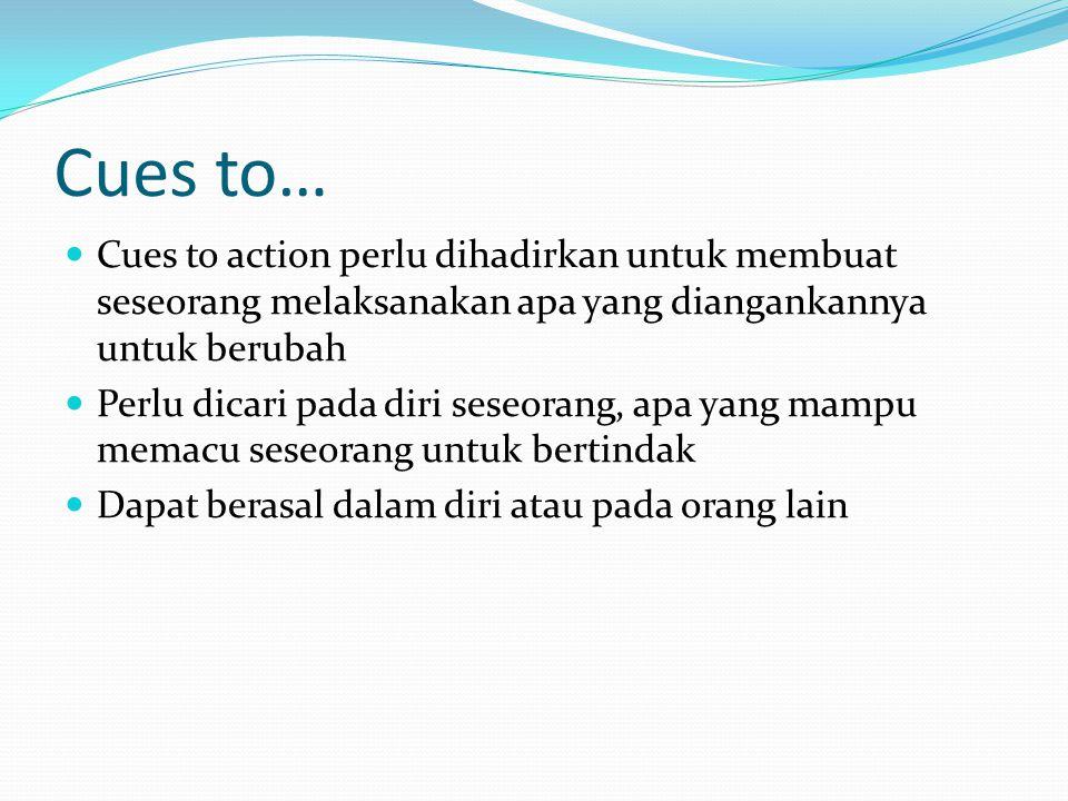 Cues to… Cues to action perlu dihadirkan untuk membuat seseorang melaksanakan apa yang diangankannya untuk berubah Perlu dicari pada diri seseorang, apa yang mampu memacu seseorang untuk bertindak Dapat berasal dalam diri atau pada orang lain