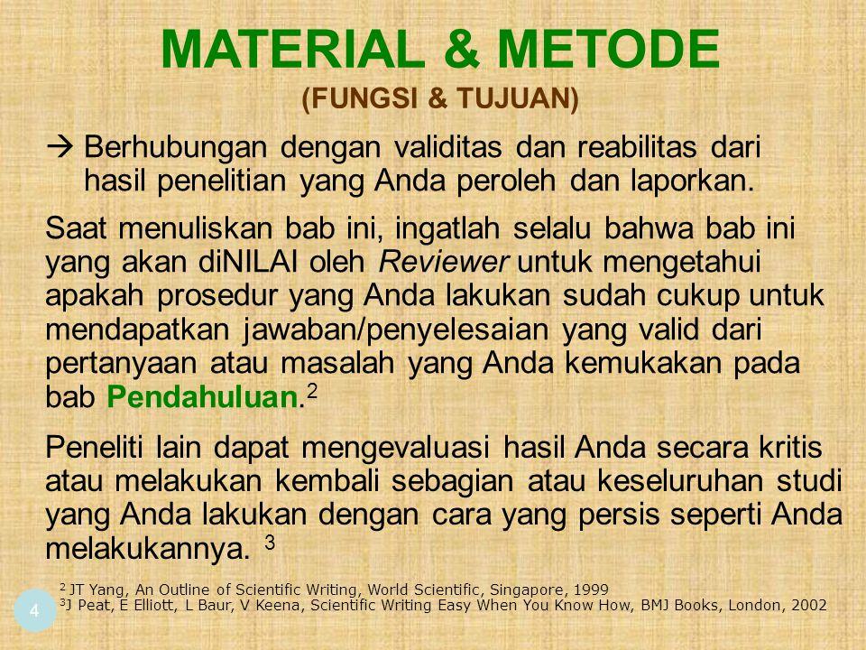 4 2 JT Yang, An Outline of Scientific Writing, World Scientific, Singapore, 1999 3 J Peat, E Elliott, L Baur, V Keena, Scientific Writing Easy When Yo