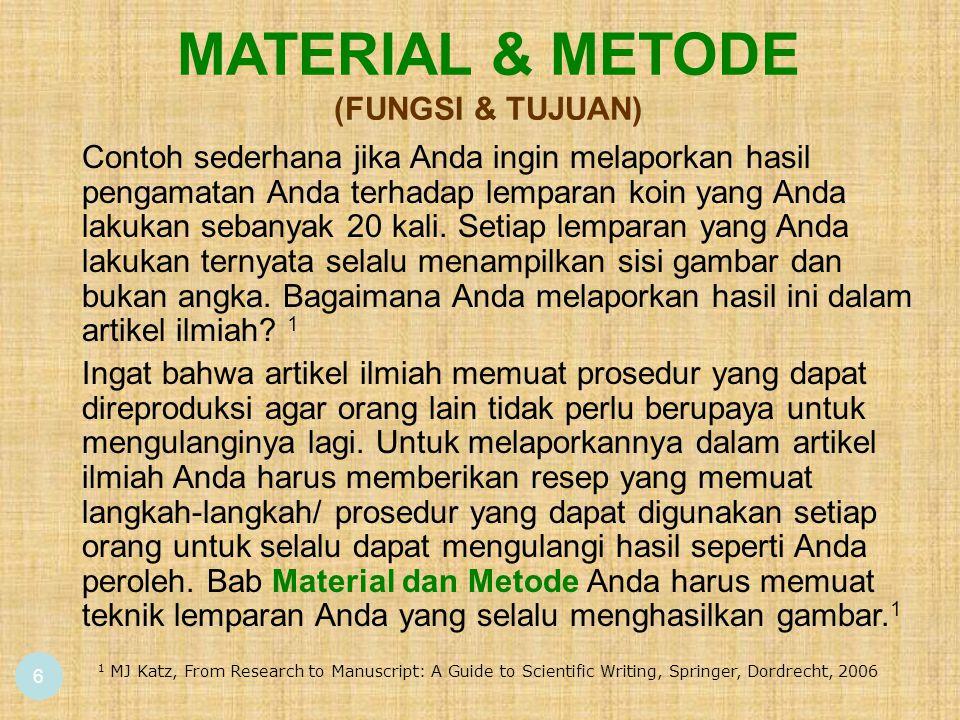 6 MATERIAL & METODE (FUNGSI & TUJUAN) 1 MJ Katz, From Research to Manuscript: A Guide to Scientific Writing, Springer, Dordrecht, 2006 Contoh sederhan