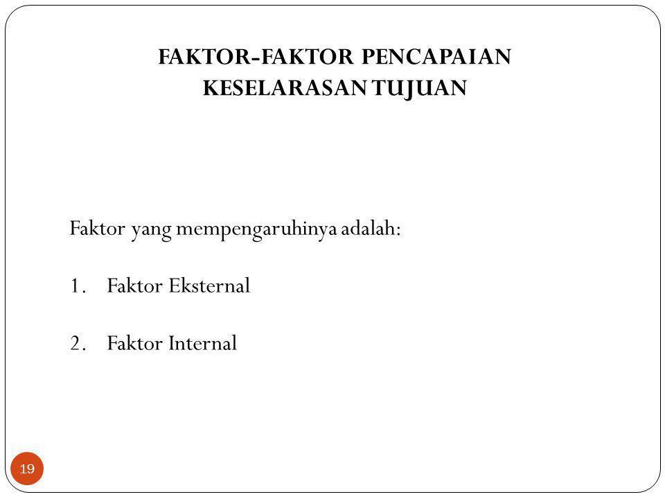 19 FAKTOR-FAKTOR PENCAPAIAN KESELARASAN TUJUAN Faktor yang mempengaruhinya adalah: 1.Faktor Eksternal 2.Faktor Internal