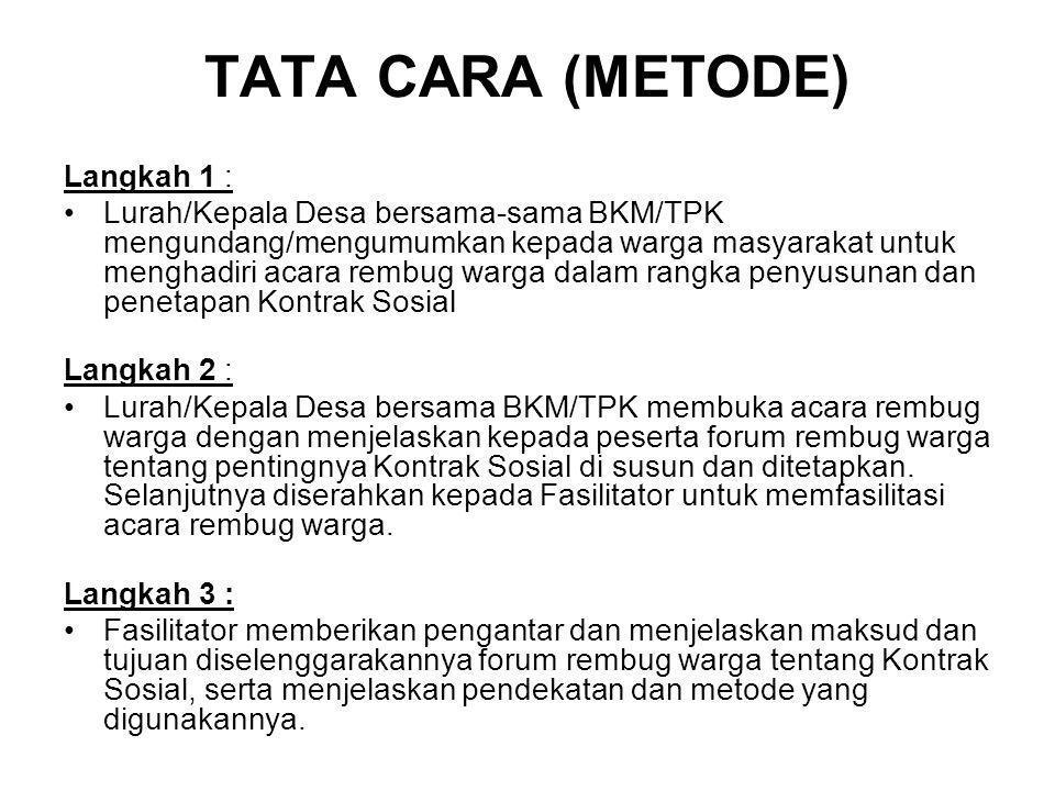 TATA CARA (METODE) Langkah 1 : Lurah/Kepala Desa bersama-sama BKM/TPK mengundang/mengumumkan kepada warga masyarakat untuk menghadiri acara rembug war