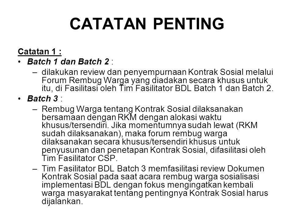 CATATAN PENTING Catatan 1 : Batch 1 dan Batch 2 : –dilakukan review dan penyempurnaan Kontrak Sosial melalui Forum Rembug Warga yang diadakan secara k