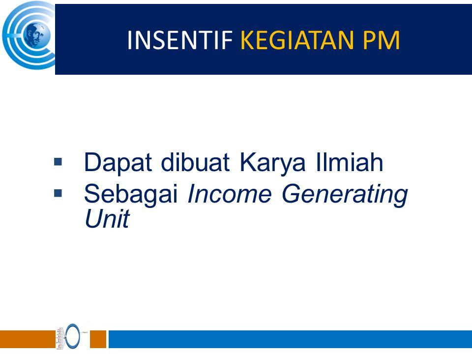 INSENTIF KEGIATAN PM  Dapat dibuat Karya Ilmiah  Sebagai Income Generating Unit