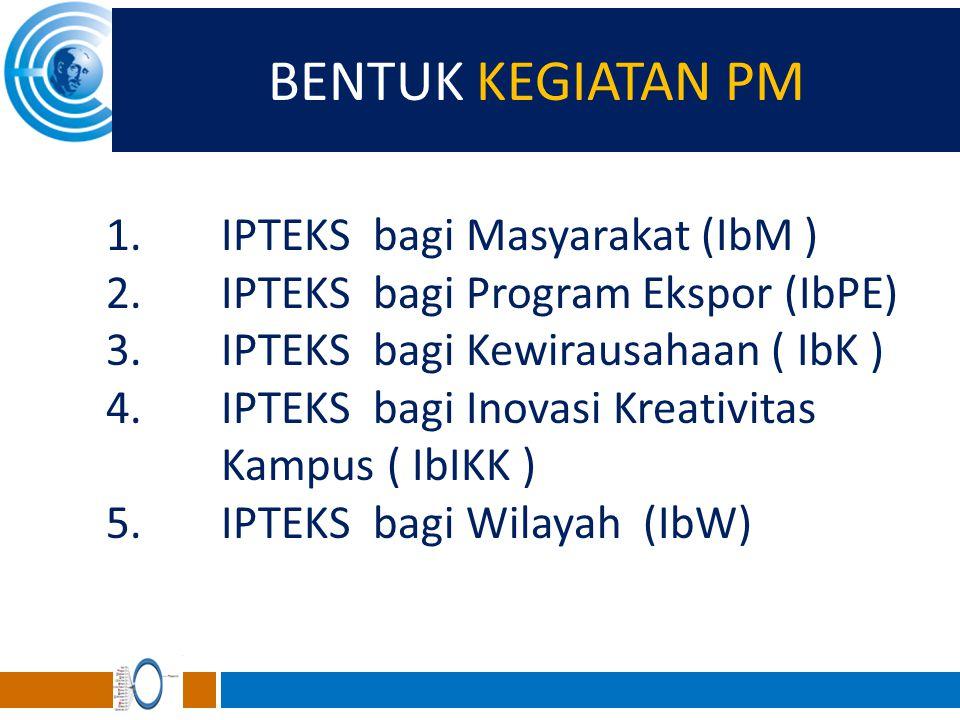 BENTUK KEGIATAN PM 1.IPTEKS bagi Masyarakat (IbM ) 2.IPTEKS bagi Program Ekspor (IbPE) 3.IPTEKS bagi Kewirausahaan ( IbK ) 4.IPTEKS bagi Inovasi Kreat