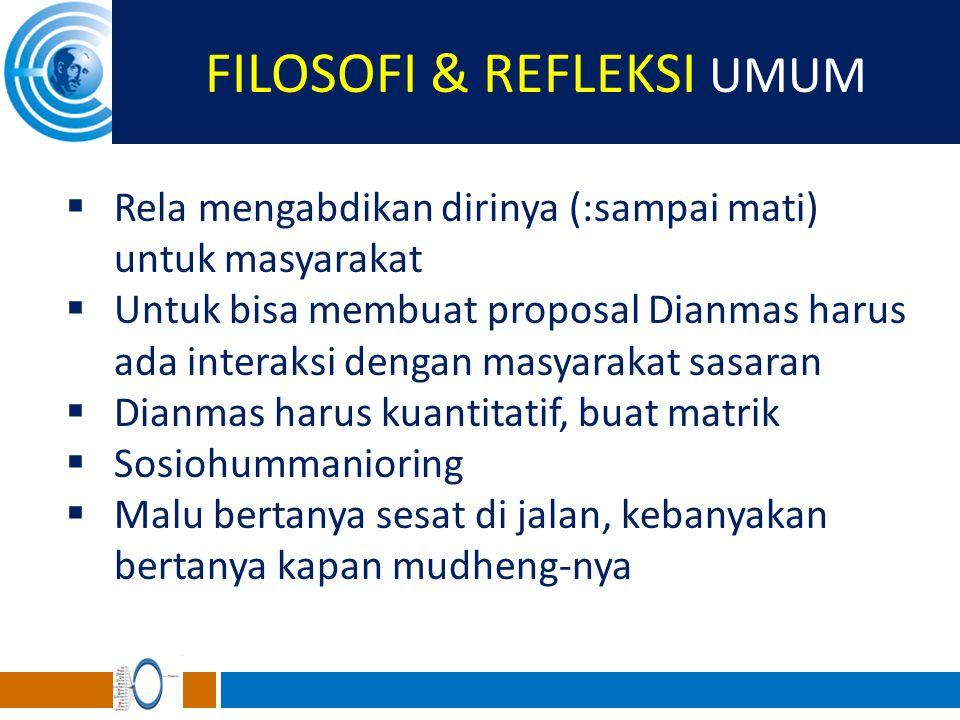 FILOSOFI & REFLEKSI UMUM  Rela mengabdikan dirinya (:sampai mati) untuk masyarakat  Untuk bisa membuat proposal Dianmas harus ada interaksi dengan m