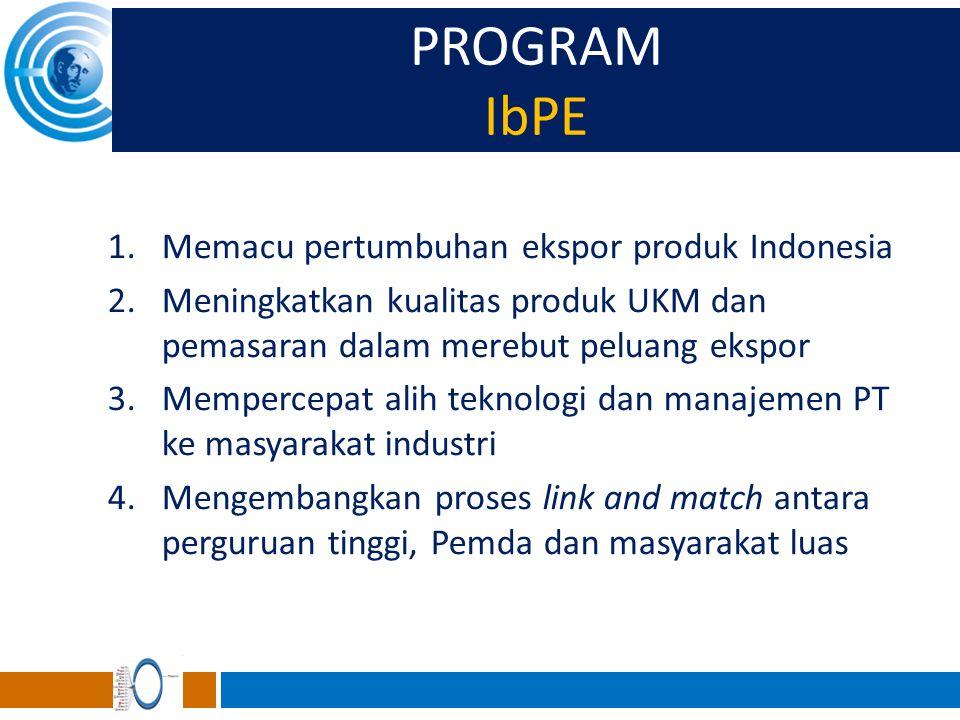 PROGRAM IbPE 1.Memacu pertumbuhan ekspor produk Indonesia 2.Meningkatkan kualitas produk UKM dan pemasaran dalam merebut peluang ekspor 3.Mempercepat