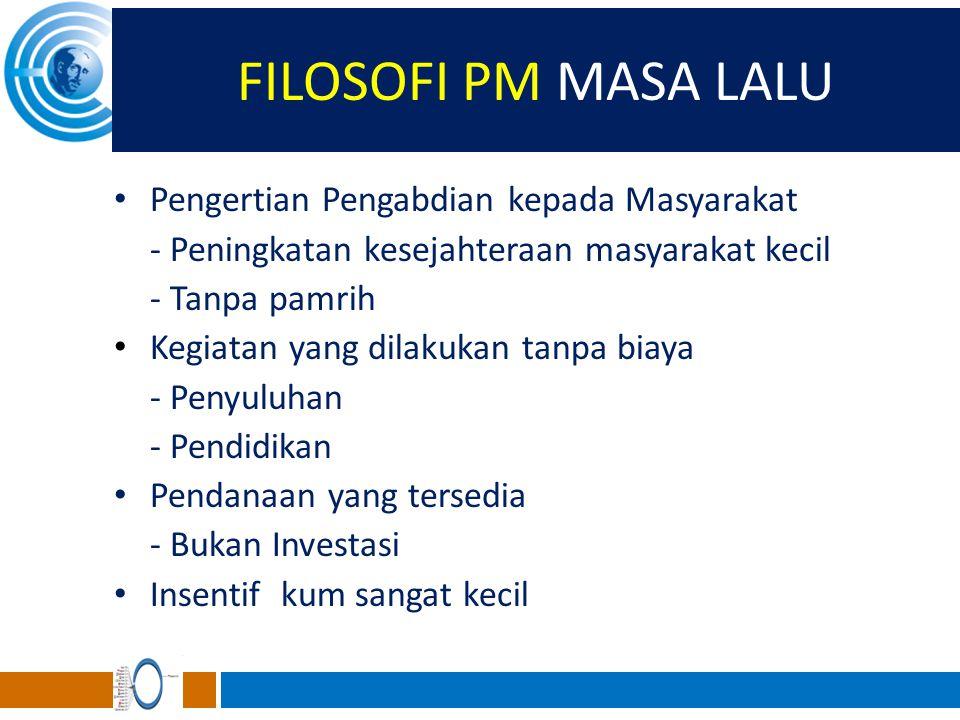 FILOSOFI PM MASA LALU Pengertian Pengabdian kepada Masyarakat - Peningkatan kesejahteraan masyarakat kecil - Tanpa pamrih Kegiatan yang dilakukan tanp