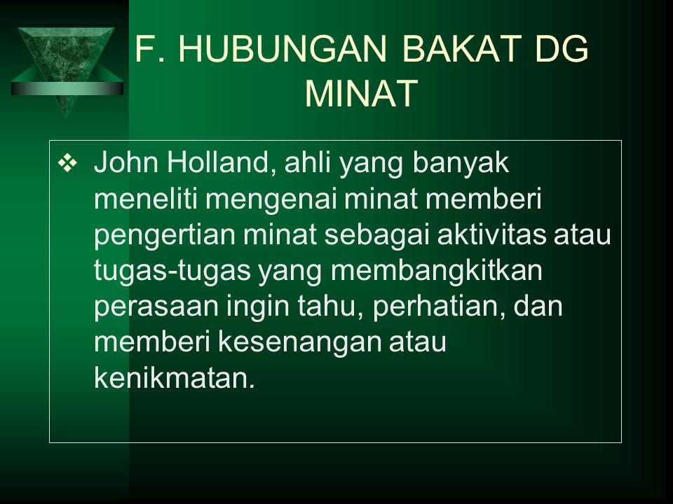F. HUBUNGAN BAKAT DG MINAT  John Holland, ahli yang banyak meneliti mengenai minat memberi pengertian minat sebagai aktivitas atau tugas-tugas yang m