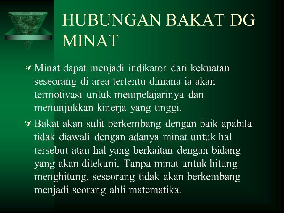 HUBUNGAN BAKAT DG MINAT  Minat dapat menjadi indikator dari kekuatan seseorang di area tertentu dimana ia akan termotivasi untuk mempelajarinya dan m