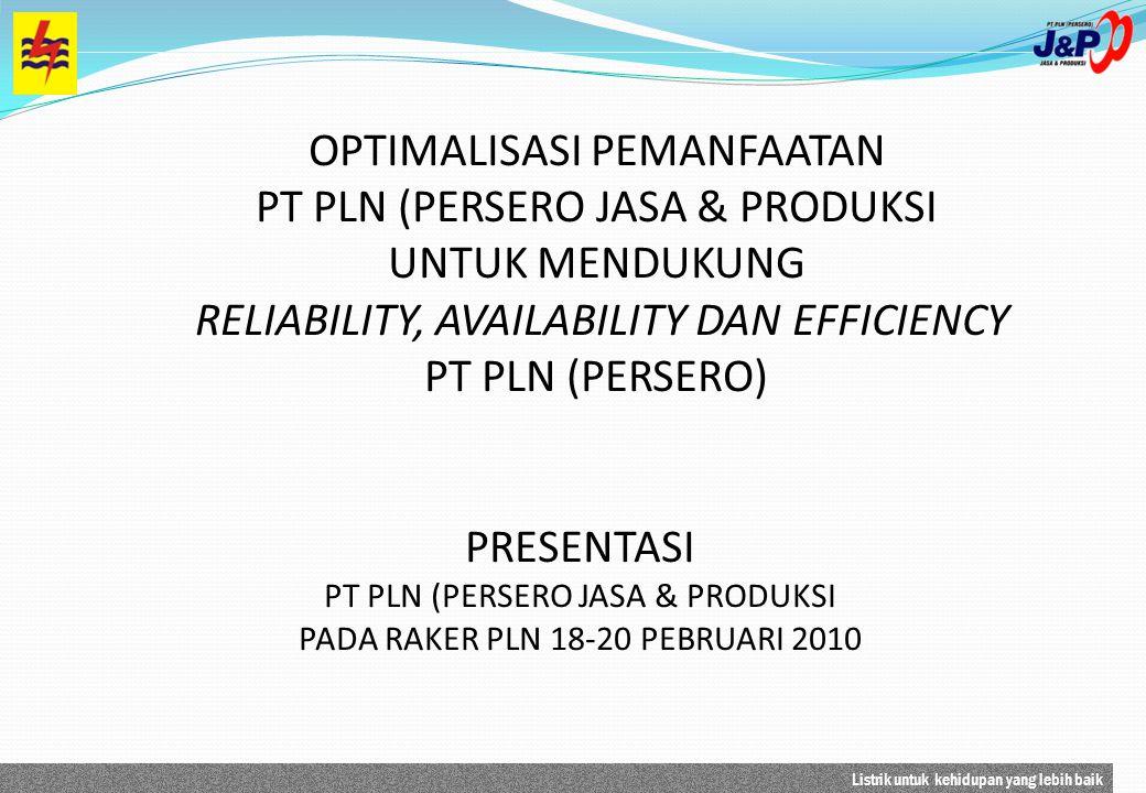 Listrik untuk kehidupan yang lebih baik PRESENTASI PT PLN (PERSERO JASA & PRODUKSI PADA RAKER PLN 18-20 PEBRUARI 2010 OPTIMALISASI PEMANFAATAN PT PLN