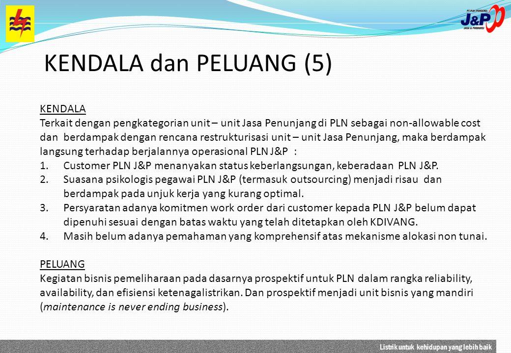Listrik untuk kehidupan yang lebih baik KENDALA dan PELUANG (5) KENDALA Terkait dengan pengkategorian unit – unit Jasa Penunjang di PLN sebagai non-al
