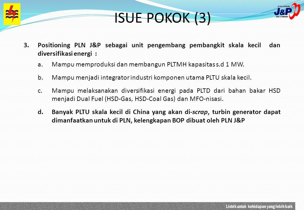 Listrik untuk kehidupan yang lebih baik 3.Positioning PLN J&P sebagai unit pengembang pembangkit skala kecil dan diversifikasi energi : a.Mampu mempro