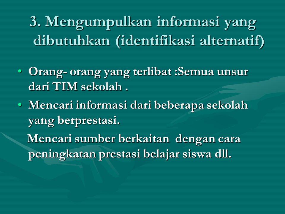 3. Mengumpulkan informasi yang dibutuhkan (identifikasi alternatif) Orang- orang yang terlibat :Semua unsur dari TIM sekolah.Orang- orang yang terliba