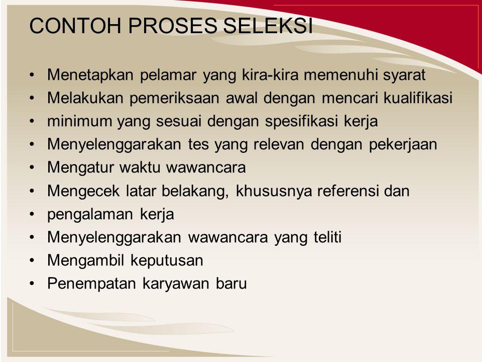 CONTOH PROSES SELEKSI Menetapkan pelamar yang kira-kira memenuhi syarat Melakukan pemeriksaan awal dengan mencari kualifikasi minimum yang sesuai deng