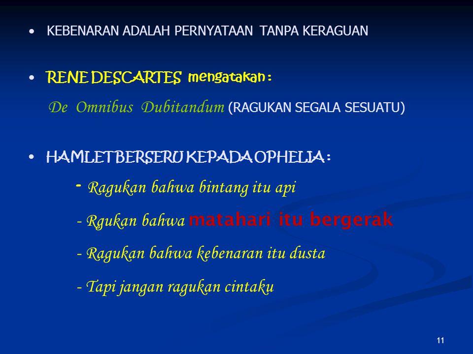 12 HUBUNGAN KEBENARAN DAN KUALITAS PENGETAHUAN HUBUNGAN KEBENARAN DAN KUALITAS PENGETAHUAN 1.PENGETAHUAN AGAMA - KEBENARAN BERSIFAT ABSOLUT DAN DOGMATIS 2.PENGETAHUAN FILSAFAT - KEBENARAN BERSIFAT ABSOLUT-INTERSUBYEKTIF - SELALU MELEKAT PADA DIRI PEMIKIR FILSAFAT 3.