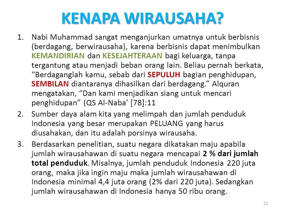 KENAPA WIRAUSAHA? 1.Nabi Muhammad sangat menganjurkan umatnya untuk berbisnis (berdagang, berwirausaha), karena berbisnis dapat menimbulkan KEMANDIRIA