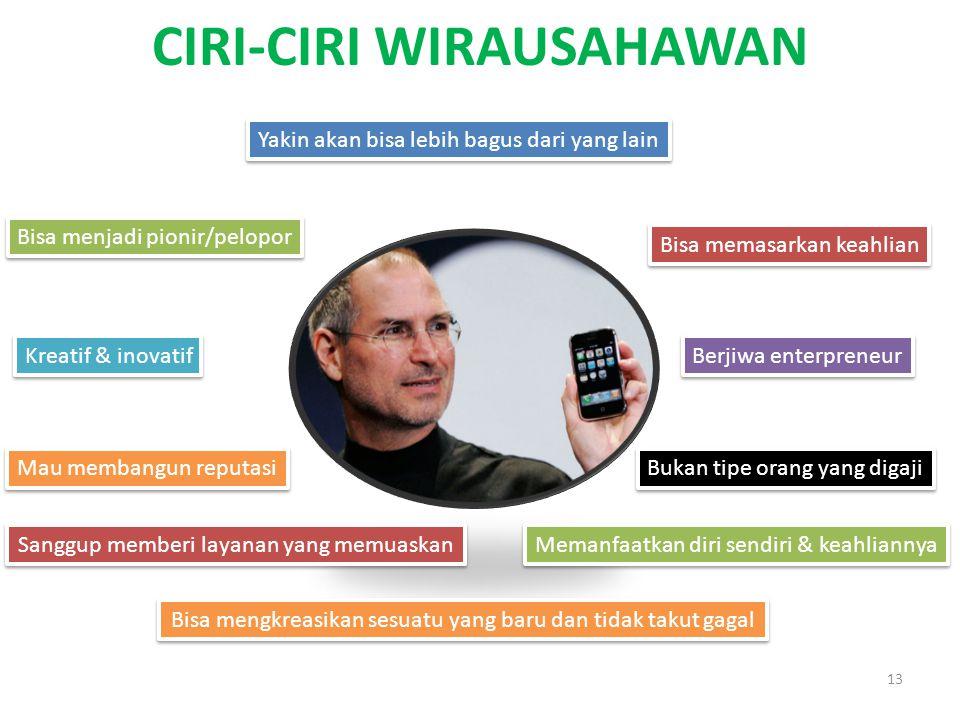 CIRI-CIRI WIRAUSAHAWAN 13 Berjiwa enterpreneur Memanfaatkan diri sendiri & keahliannya Bukan tipe orang yang digaji Bisa memasarkan keahlian Mau memba