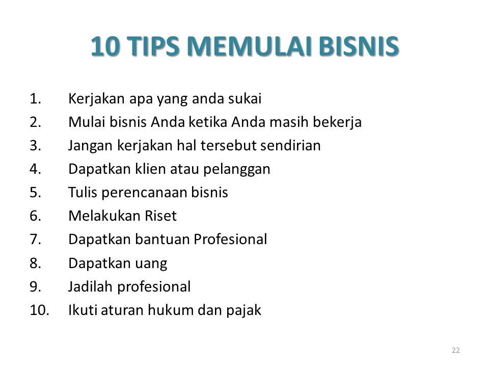 10 TIPS MEMULAI BISNIS 1.Kerjakan apa yang anda sukai 2.Mulai bisnis Anda ketika Anda masih bekerja 3.Jangan kerjakan hal tersebut sendirian 4.Dapatka