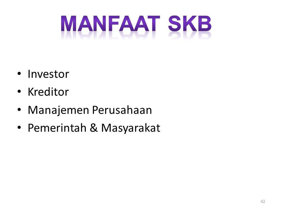 Investor Kreditor Manajemen Perusahaan Pemerintah & Masyarakat 42