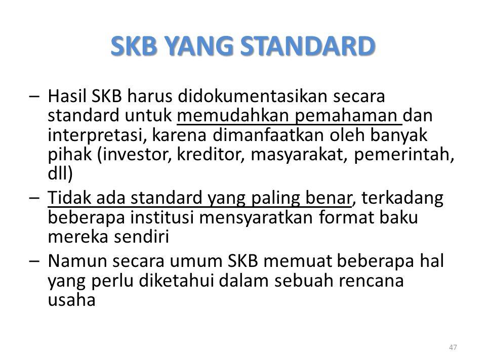 SKB YANG STANDARD –Hasil SKB harus didokumentasikan secara standard untuk memudahkan pemahaman dan interpretasi, karena dimanfaatkan oleh banyak pihak