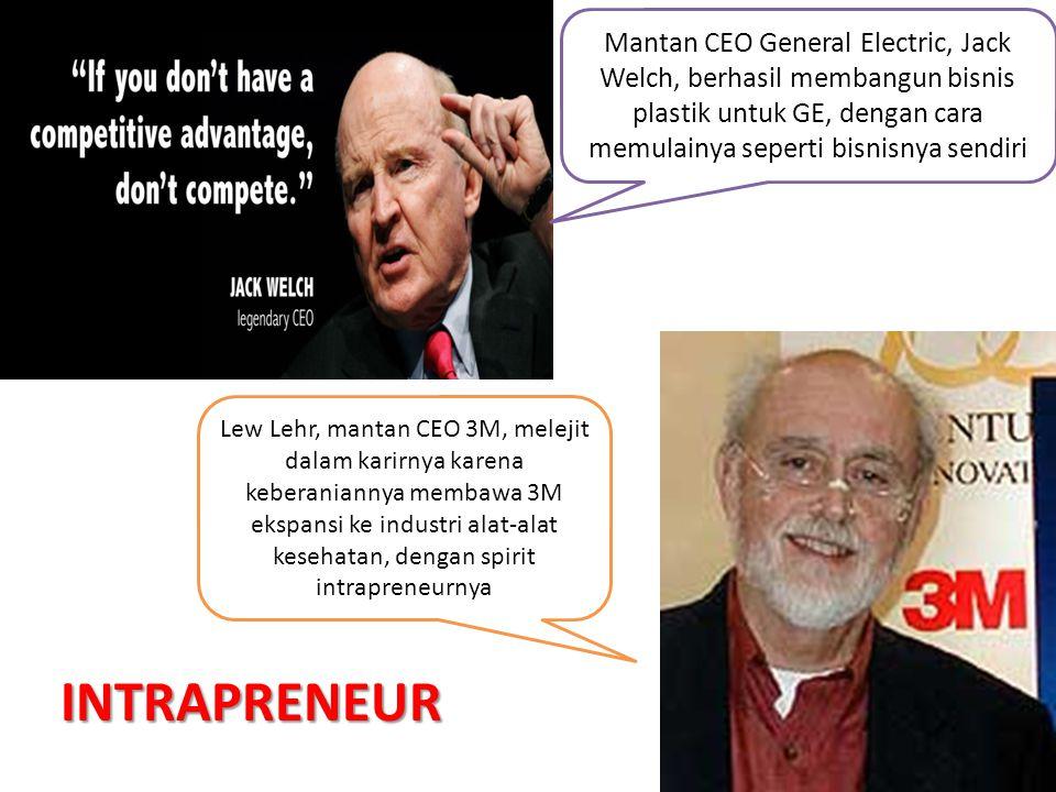 5 Mantan CEO General Electric, Jack Welch, berhasil membangun bisnis plastik untuk GE, dengan cara memulainya seperti bisnisnya sendiri INTRAPRENEUR L