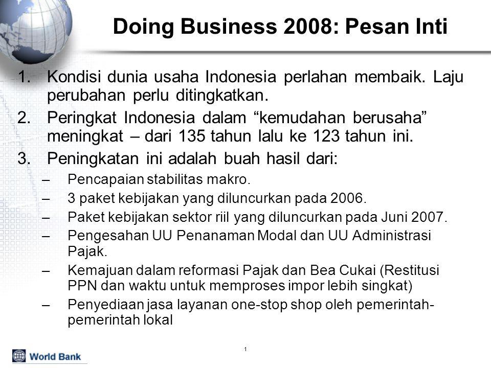2 Persepsi bisnis terhadap iklim investasi Indonesia membaik Penilaian responden terhadap kendala bisnis (dari moderat hingga sangat parah) Hanya infrastruktur, akses finansial dan perolehan tanah yang memburuk