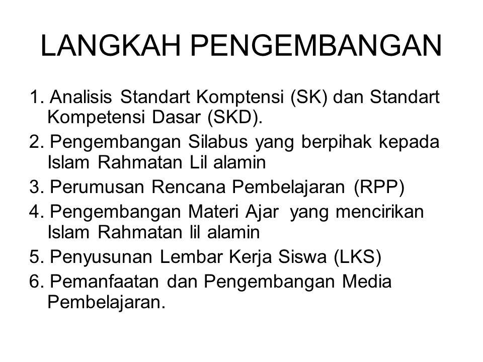 LANGKAH PENGEMBANGAN 1.Analisis Standart Komptensi (SK) dan Standart Kompetensi Dasar (SKD).