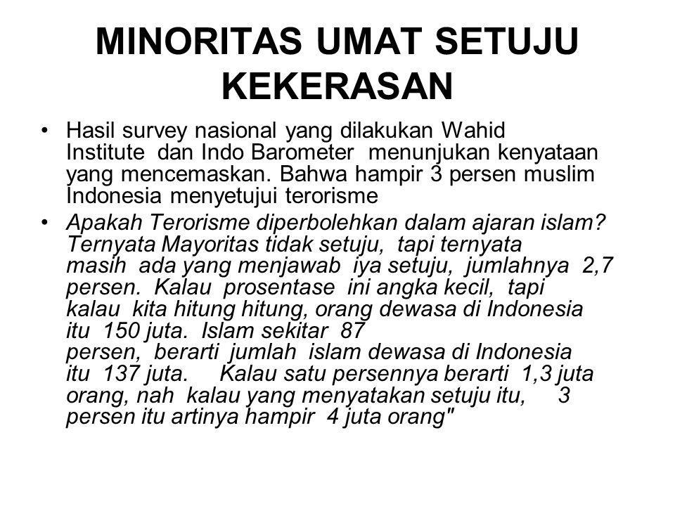 MINORITAS UMAT SETUJU KEKERASAN Hasil survey nasional yang dilakukan Wahid Institute dan Indo Barometer menunjukan kenyataan yang mencemaskan.
