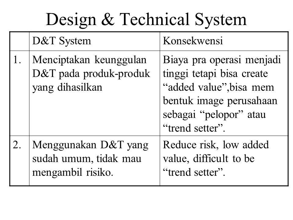 Design & Technical System D&T SystemKonsekwensi 1.Menciptakan keunggulan D&T pada produk-produk yang dihasilkan Biaya pra operasi menjadi tinggi tetapi bisa create added value ,bisa mem bentuk image perusahaan sebagai pelopor atau trend setter .