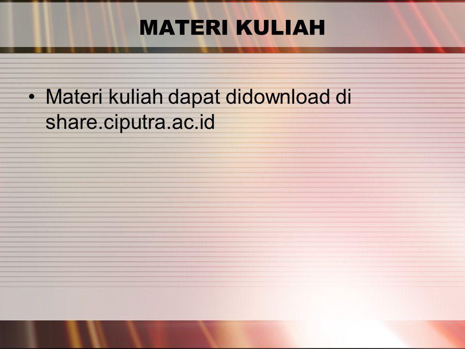 PERTEMUAN 2 MATERI KULIAH Materi kuliah dapat didownload di share.ciputra.ac.id
