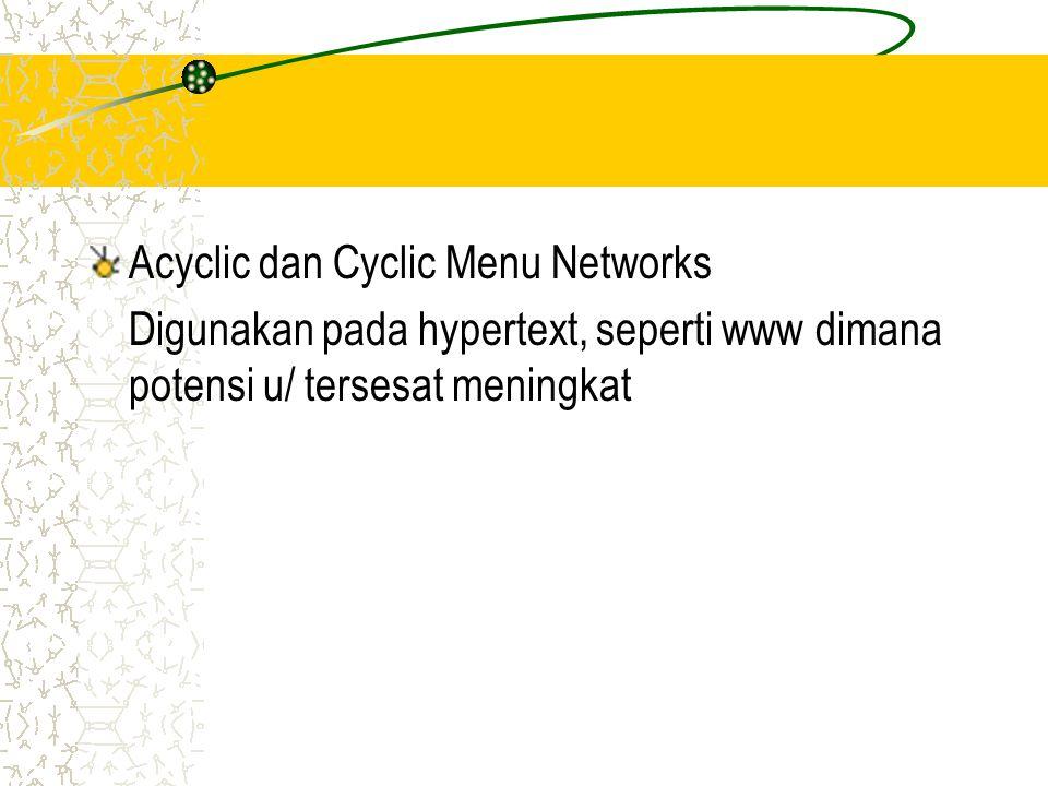 Acyclic dan Cyclic Menu Networks Digunakan pada hypertext, seperti www dimana potensi u/ tersesat meningkat