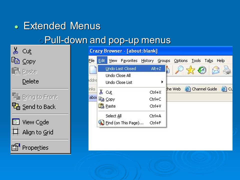  Extended Menus o Pull-down and pop-up menus