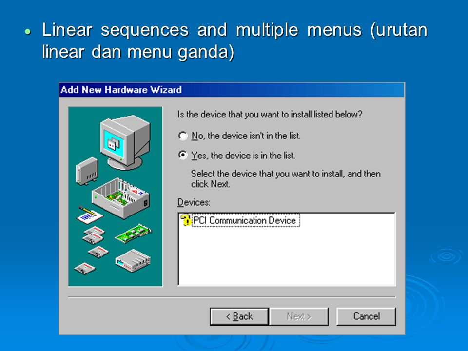  Linear sequences and multiple menus (urutan linear dan menu ganda)