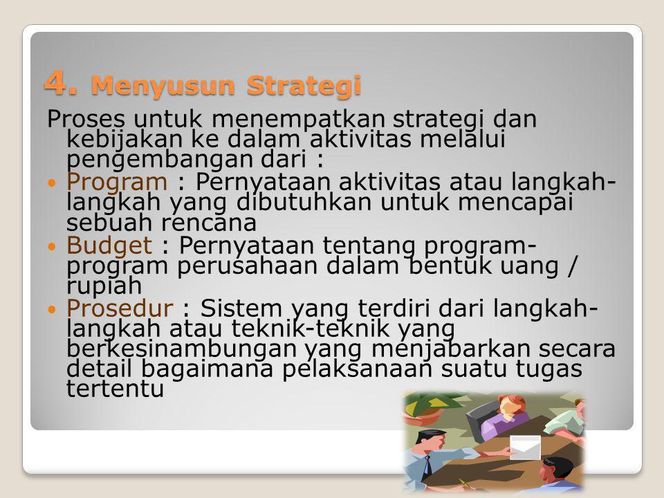 4. Menyusun Strategi Proses untuk menempatkan strategi dan kebijakan ke dalam aktivitas melalui pengembangan dari : Program : Pernyataan aktivitas ata