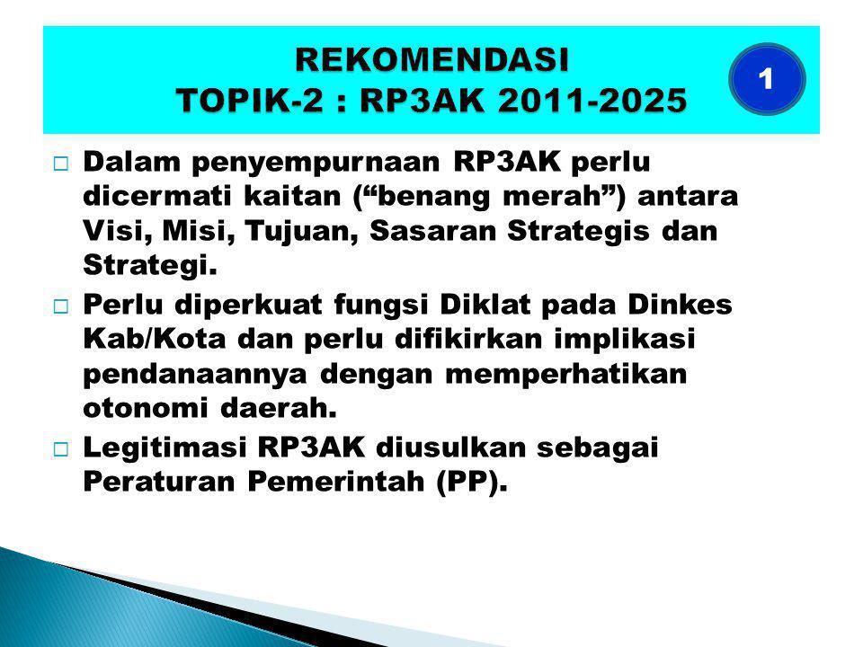  Dalam penyempurnaan RP3AK perlu dicermati kaitan ( benang merah ) antara Visi, Misi, Tujuan, Sasaran Strategis dan Strategi.
