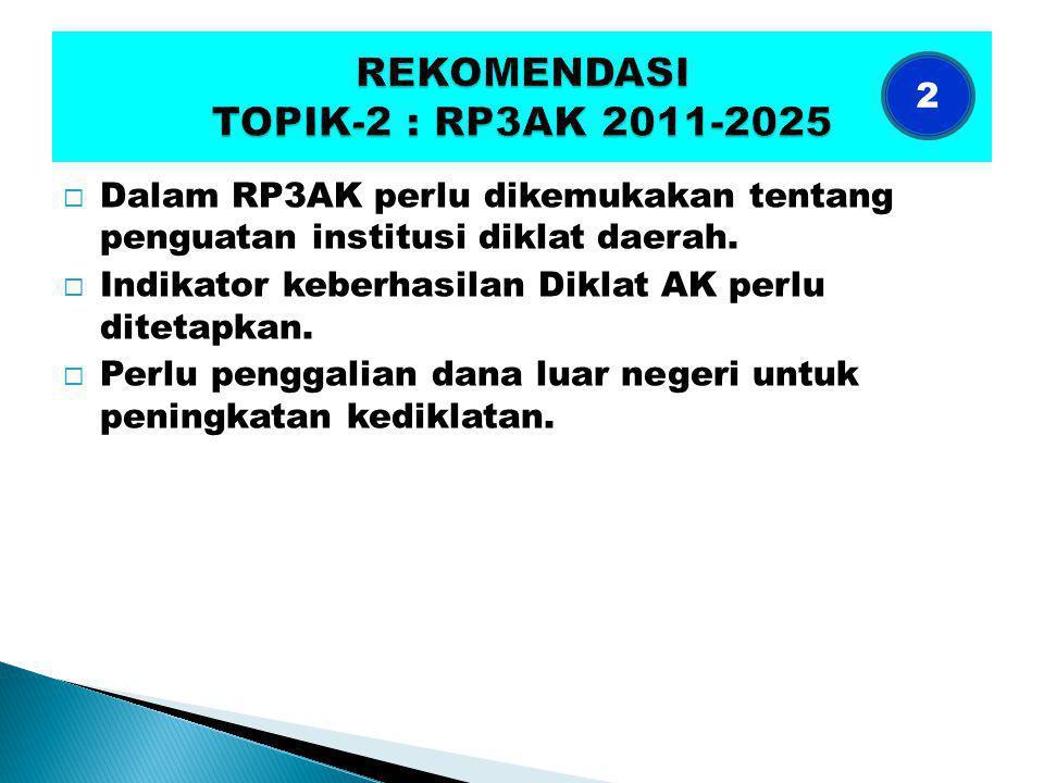  Dalam RP3AK perlu dikemukakan tentang penguatan institusi diklat daerah.