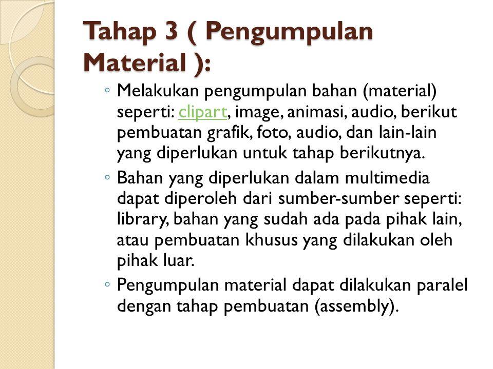 Tahap 3 ( Pengumpulan Material ): ◦ Melakukan pengumpulan bahan (material) seperti: clipart, image, animasi, audio, berikut pembuatan grafik, foto, au