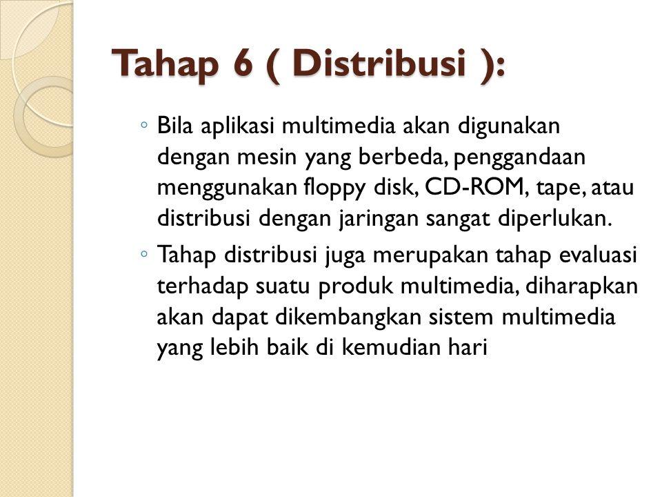 Tahap 6 ( Distribusi ): ◦ Bila aplikasi multimedia akan digunakan dengan mesin yang berbeda, penggandaan menggunakan floppy disk, CD-ROM, tape, atau d