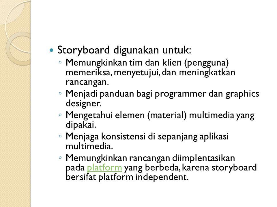 Storyboard digunakan untuk: ◦ Memungkinkan tim dan klien (pengguna) memeriksa, menyetujui, dan meningkatkan rancangan. ◦ Menjadi panduan bagi programm