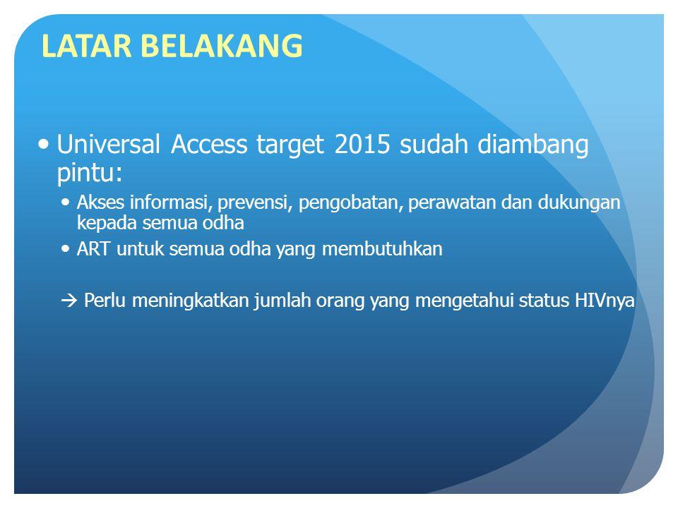 LATAR BELAKANG Universal Access target 2015 sudah diambang pintu: Akses informasi, prevensi, pengobatan, perawatan dan dukungan kepada semua odha ART untuk semua odha yang membutuhkan  Perlu meningkatkan jumlah orang yang mengetahui status HIVnya