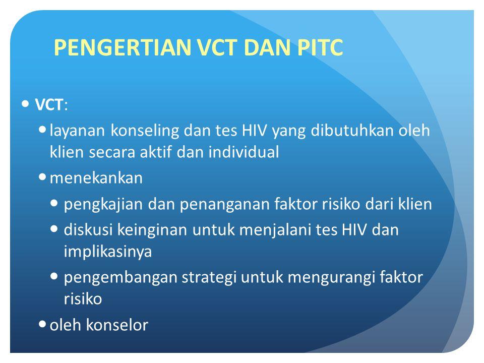 PENGERTIAN VCT DAN PITC VCT: layanan konseling dan tes HIV yang dibutuhkan oleh klien secara aktif dan individual menekankan pengkajian dan penanganan faktor risiko dari klien diskusi keinginan untuk menjalani tes HIV dan implikasinya pengembangan strategi untuk mengurangi faktor risiko oleh konselor
