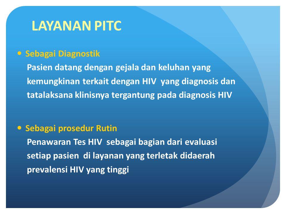 LAYANAN PITC Sebagai Diagnostik Pasien datang dengan gejala dan keluhan yang kemungkinan terkait dengan HIV yang diagnosis dan tatalaksana klinisnya tergantung pada diagnosis HIV Sebagai prosedur Rutin Penawaran Tes HIV sebagai bagian dari evaluasi setiap pasien di layanan yang terletak didaerah prevalensi HIV yang tinggi