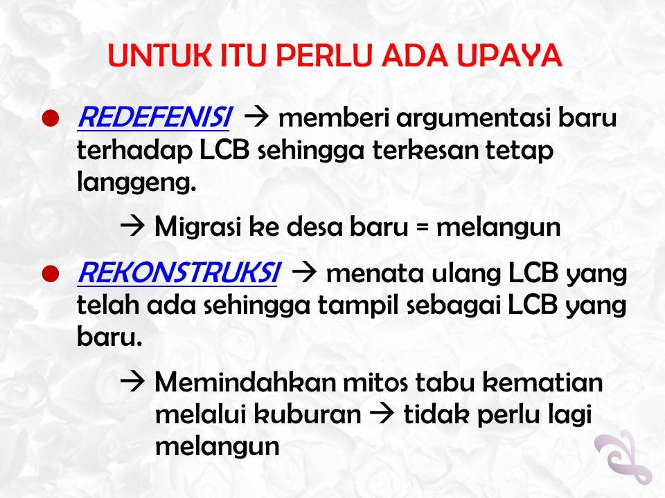UNTUK ITU PERLU ADA UPAYA  REDEFENISI  memberi argumentasi baru terhadap LCB sehingga terkesan tetap langgeng.  Migrasi ke desa baru = melangun  R