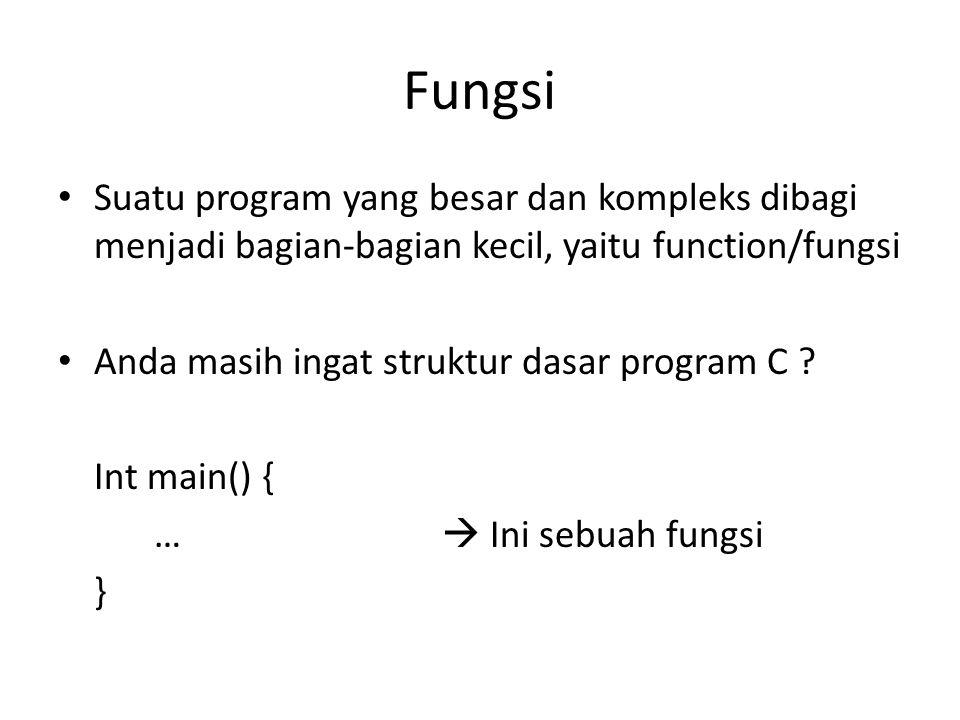 Fungsi Suatu program yang besar dan kompleks dibagi menjadi bagian-bagian kecil, yaitu function/fungsi Anda masih ingat struktur dasar program C ? Int