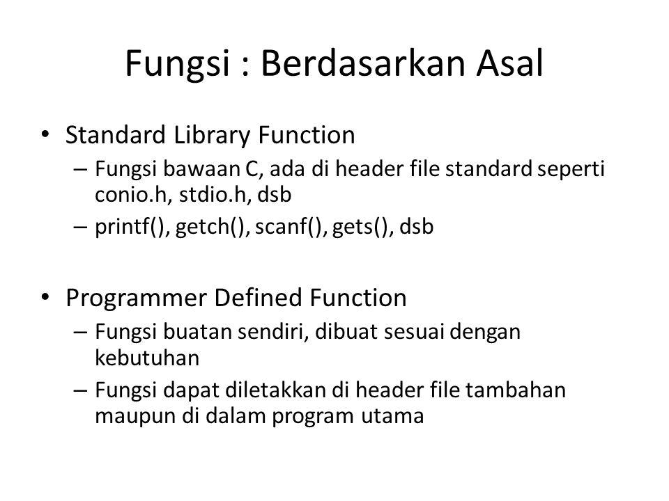 Fungsi : Berdasarkan Asal Standard Library Function – Fungsi bawaan C, ada di header file standard seperti conio.h, stdio.h, dsb – printf(), getch(),