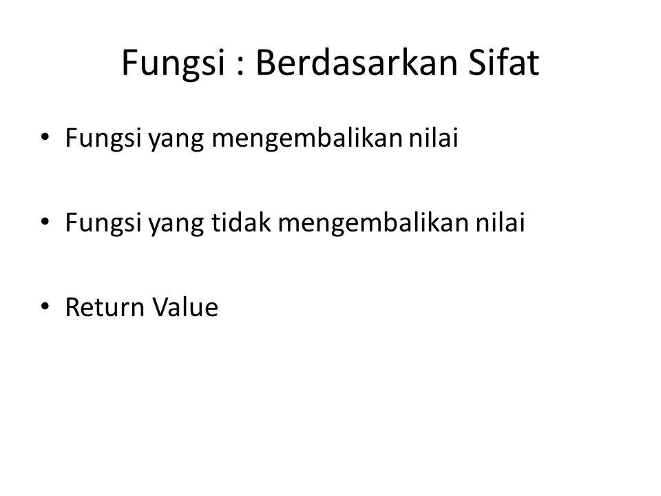 Fungsi : Berdasarkan Sifat Fungsi yang mengembalikan nilai Fungsi yang tidak mengembalikan nilai Return Value