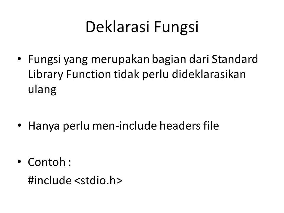 Deklarasi Fungsi Fungsi yang merupakan bagian dari Standard Library Function tidak perlu dideklarasikan ulang Hanya perlu men-include headers file Con